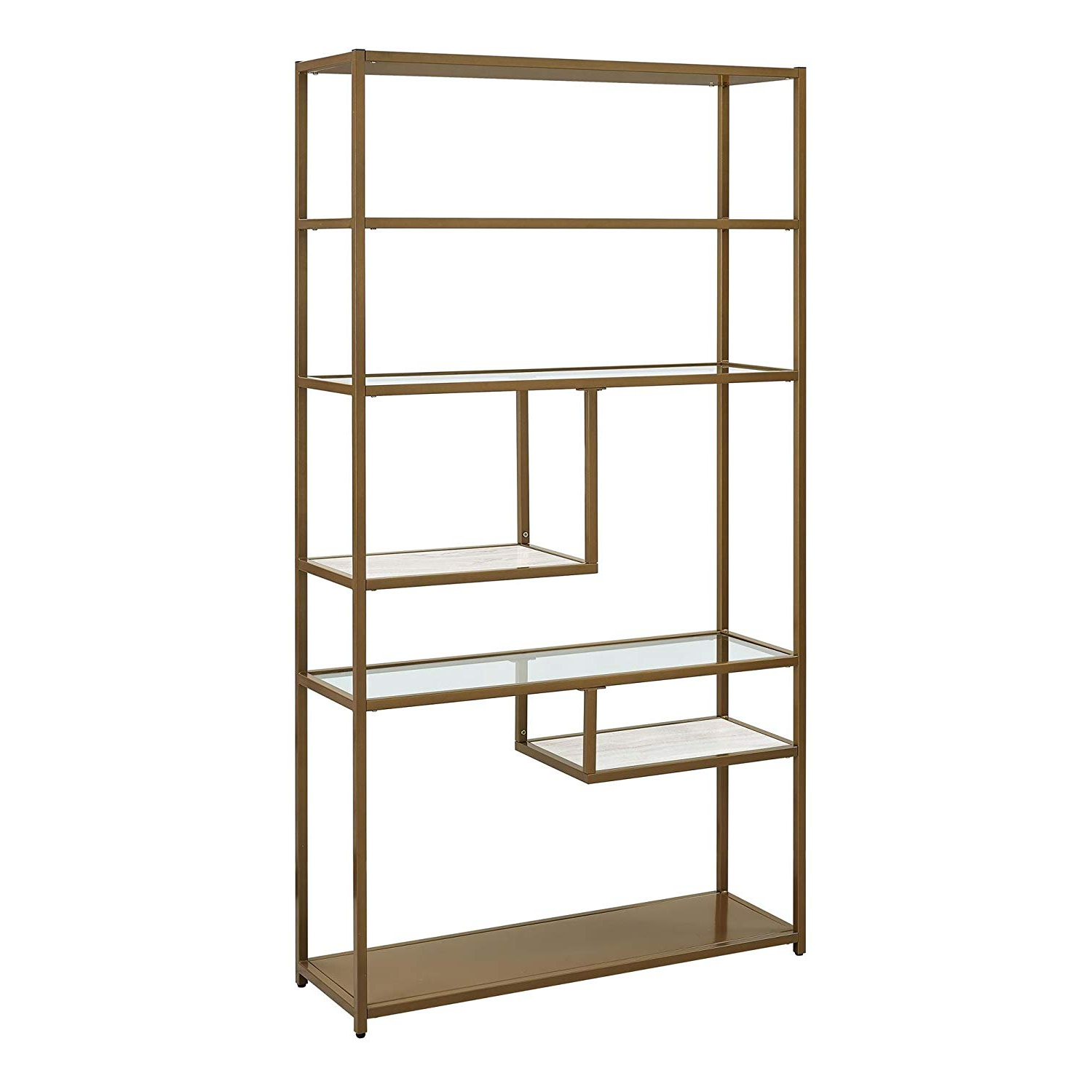 Chrysanthos Etagere Bookcases For 2020 Dorel Living Moriah Geometric Bookcase Etagere, Soft Brass (Gallery 20 of 20)