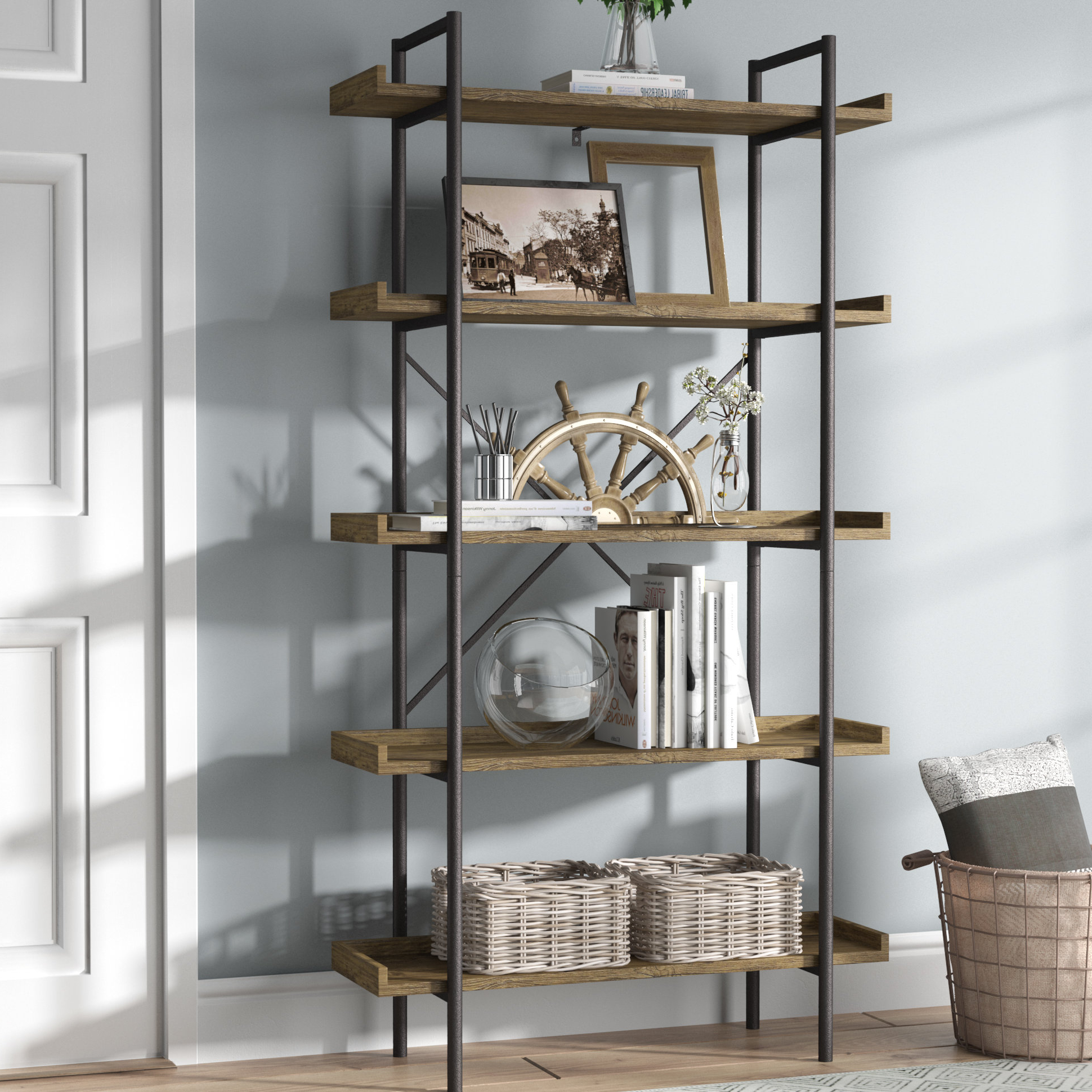 Cifuentes Dual Etagere Bookcases Intended For Well Liked Swindell Etagere Bookcase (View 17 of 20)