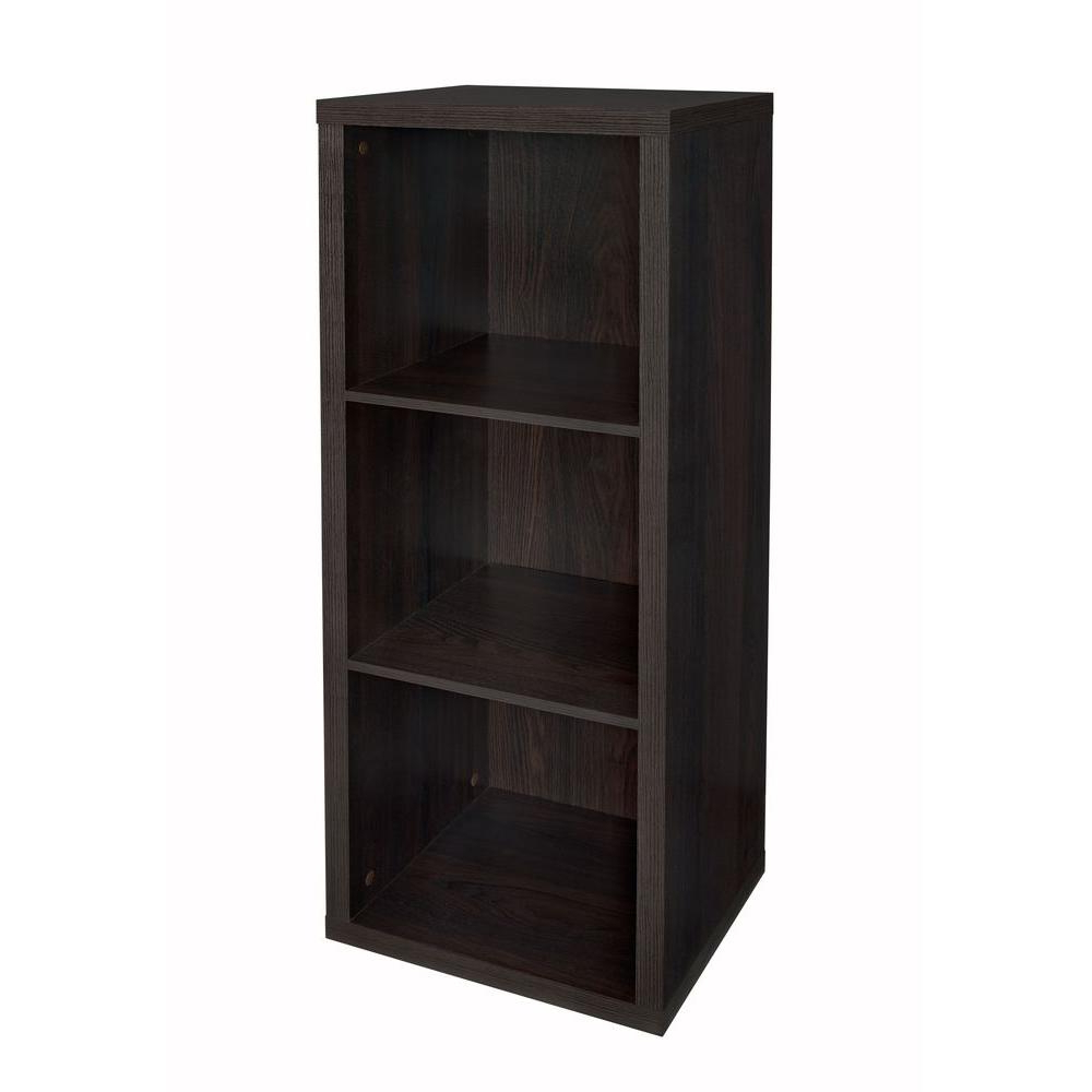 Closetmaid 16 In. W X 44 In. H Decorative Black Walnut 3 Cube Organizer Pertaining To Favorite Decorative Storage Cube Bookcases (Gallery 20 of 20)