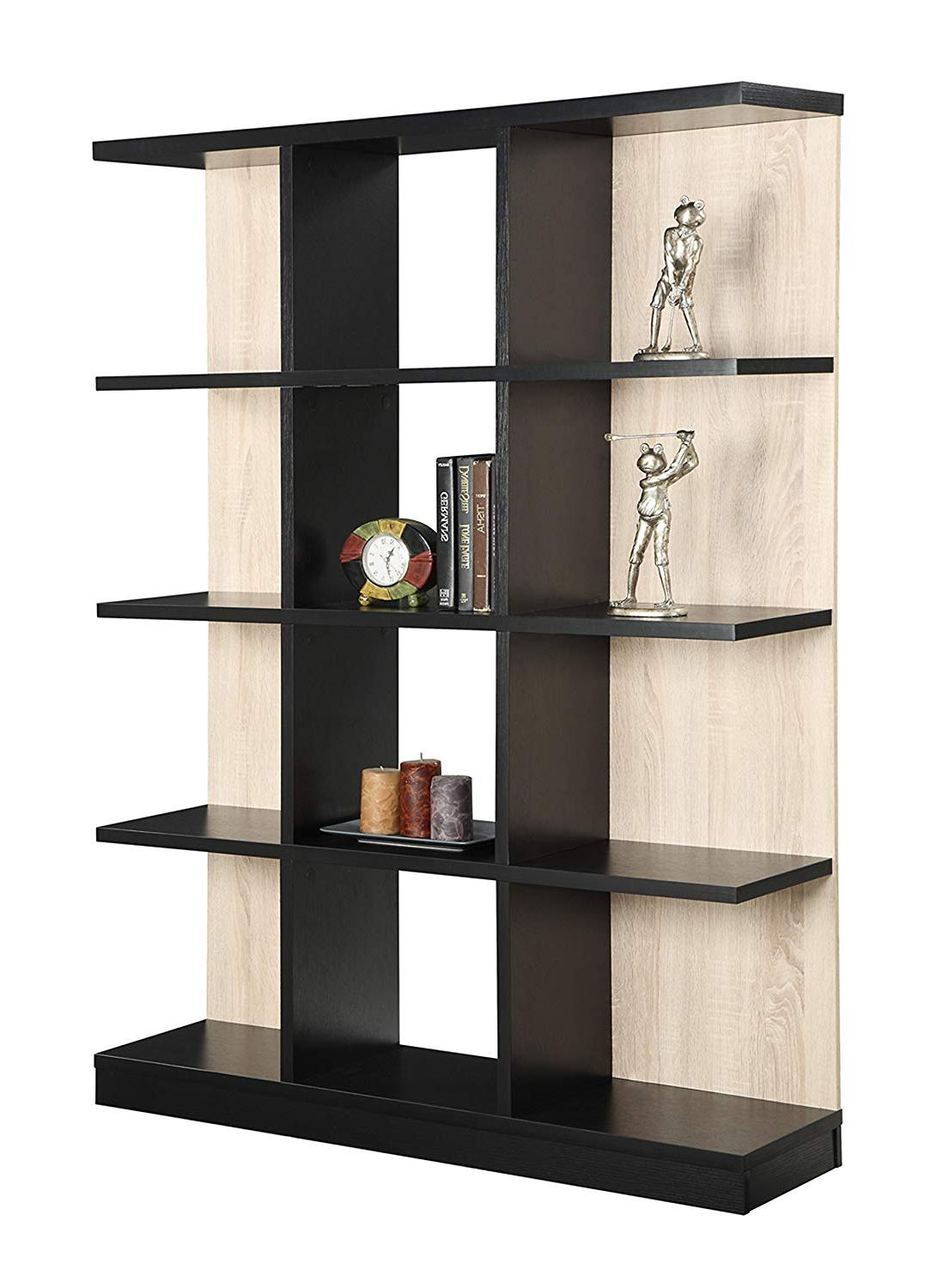 Convenience Concepts Key West 4 Tier Bookcase, Weathered White And Black With Famous Tisha Corner Bookcases (Gallery 15 of 20)