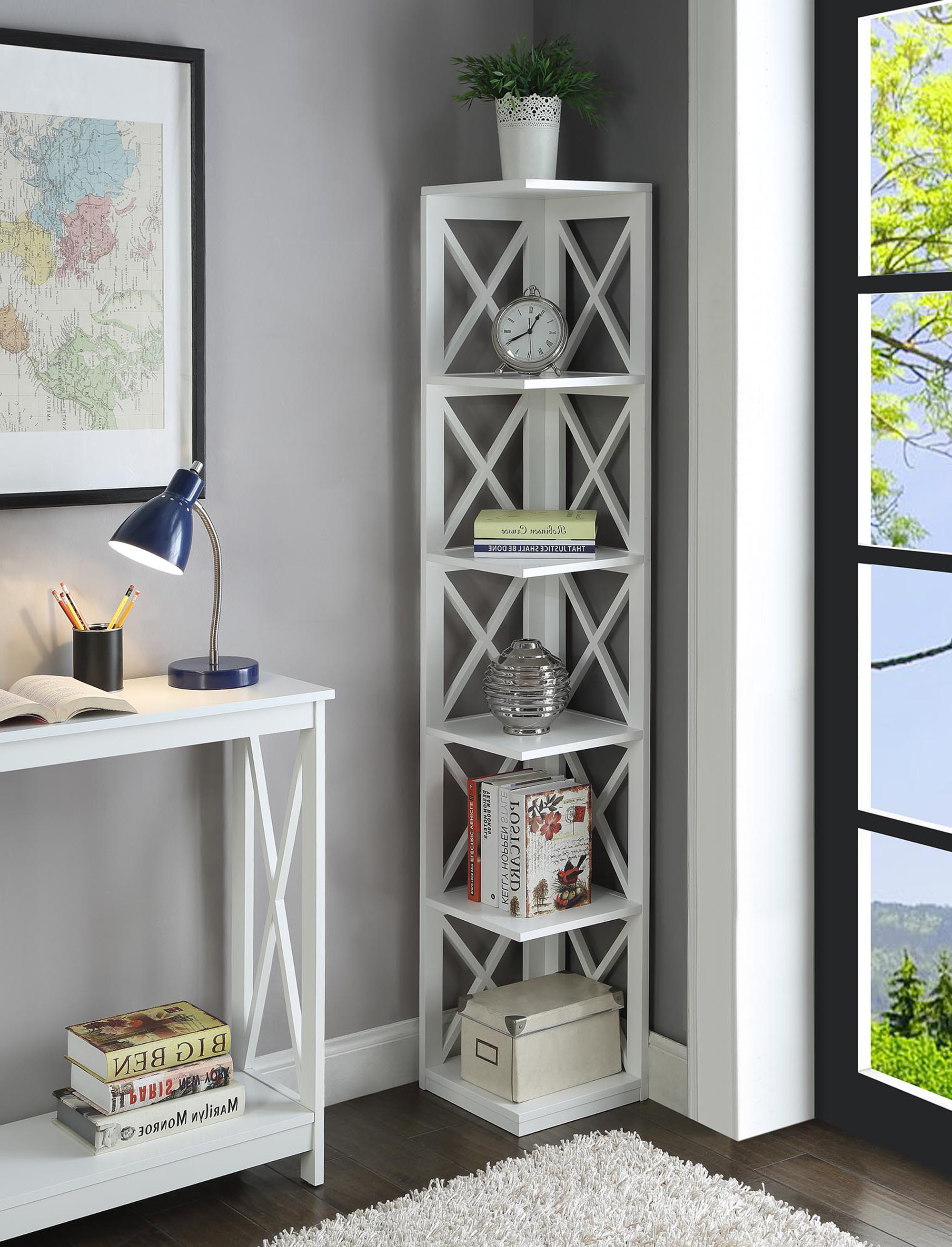 Convenience Concepts Oxford 5 Tier Corner Bookcase – Walmart With 2020 Stoneford Corner Bookcases (Gallery 11 of 20)