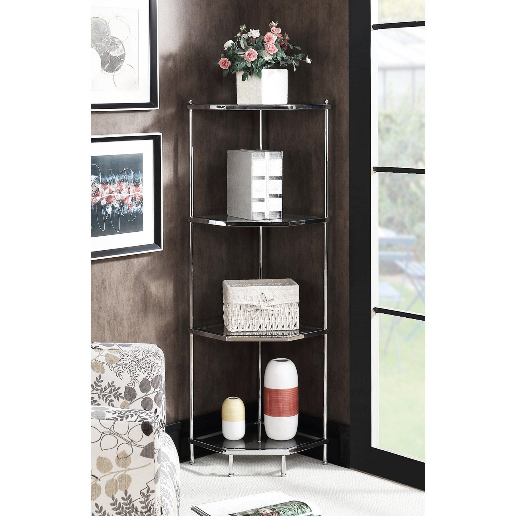 Convenience Concepts Royal Crest Corner Shelf – 134005 For Famous Beckett Corner Bookcases (View 19 of 20)