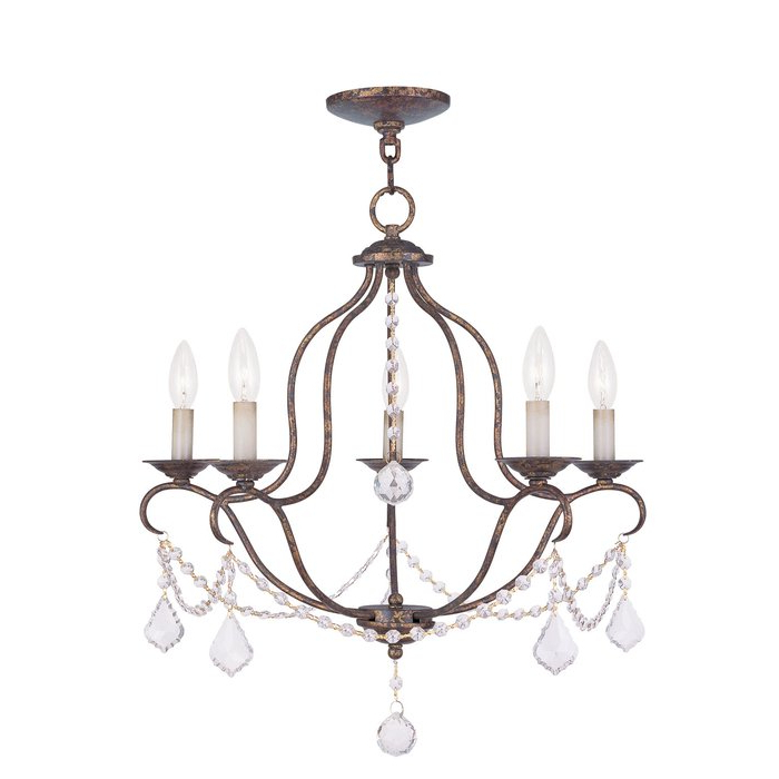 Corneau 5 Light Chandeliers Pertaining To Latest Accomac 5 Light Candle Style Chandelier (View 21 of 25)