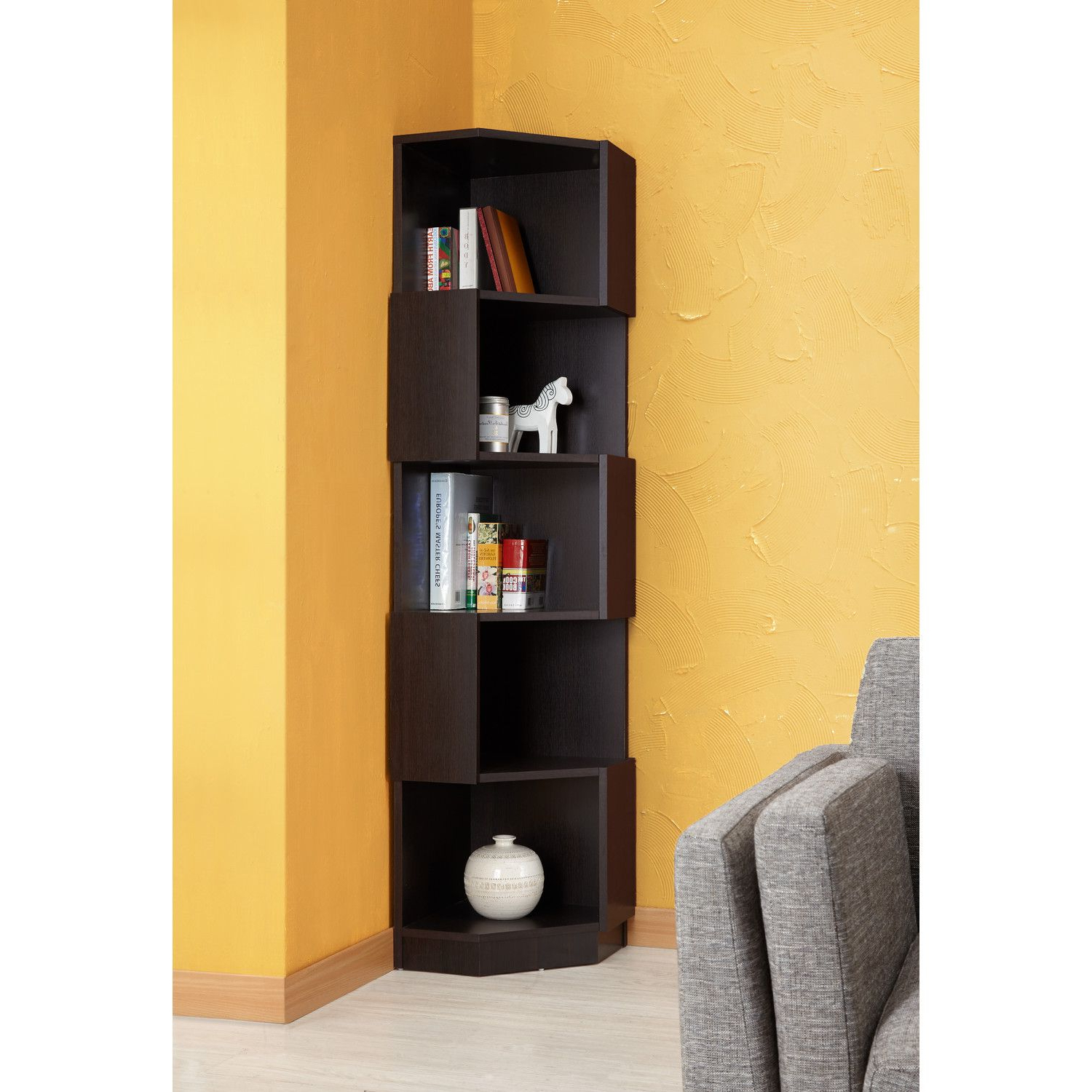 "Corner Bookcases By Hokku Designs In Preferred Hokku Designs Levia Corner 71"" Bookcase (View 7 of 20)"