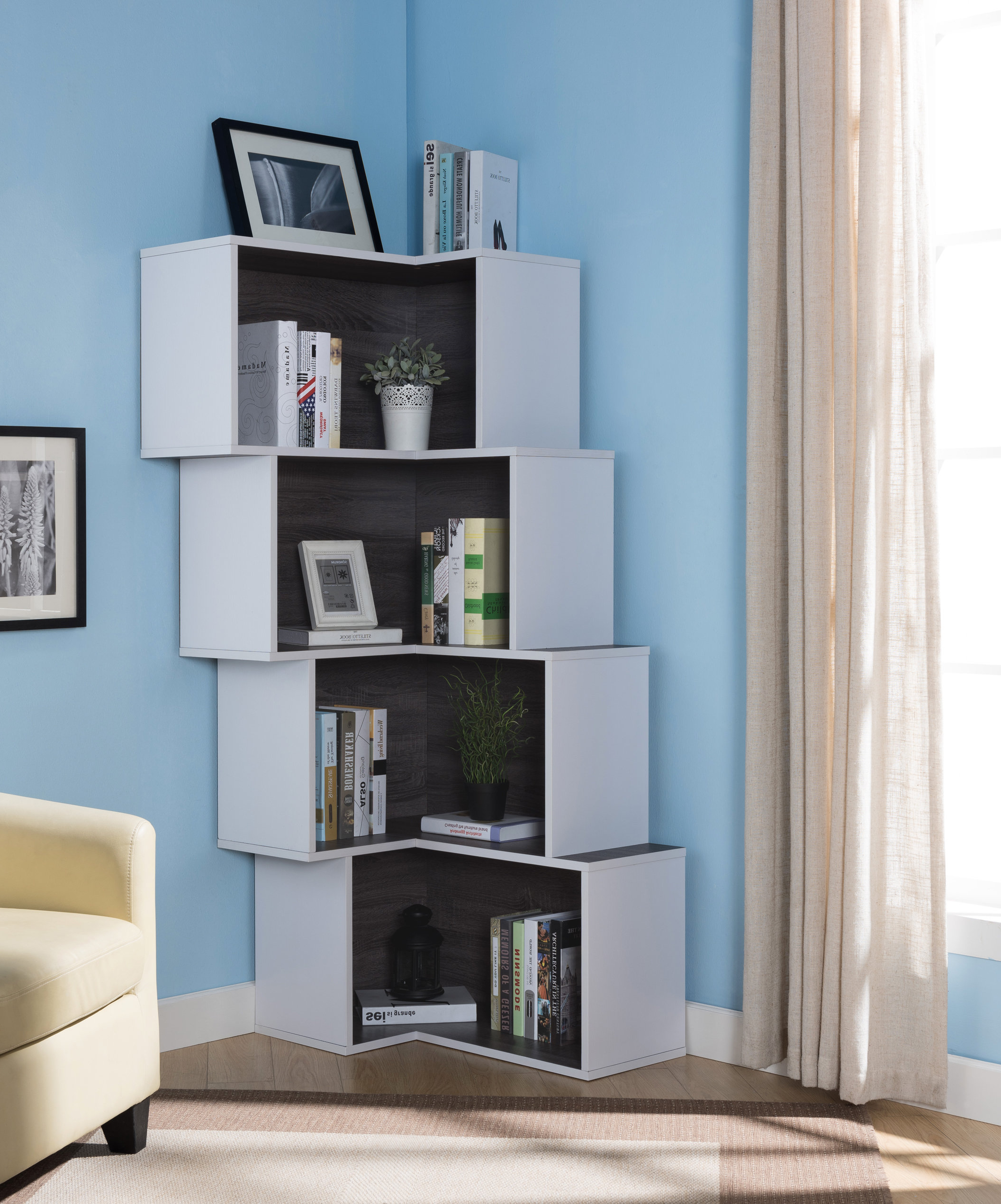 Corner Bookcases By Hokku Designs With Favorite Farragutt Modern Corner Bookcase (View 10 of 20)