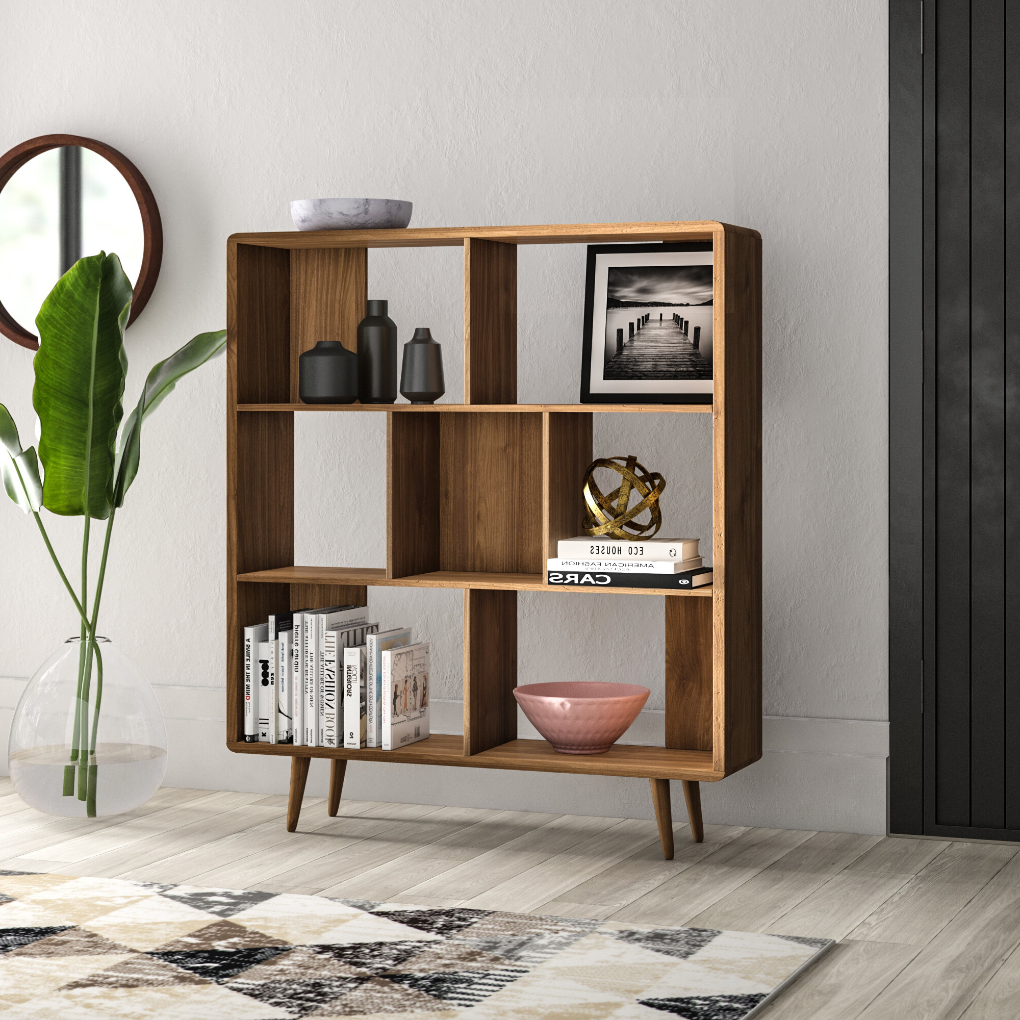 Crowley Standard Bookcases Regarding Most Popular Chapple Geometric Bookcase (Gallery 11 of 20)