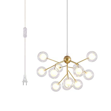 Current Asher 12 Light Sputnik Chandeliers Regarding Dellemade Dd00134 Plug In Sputnik Chandelier 12 Light Golden Pendant Light  With 16 Ft Cord Bulbs Included (View 6 of 25)