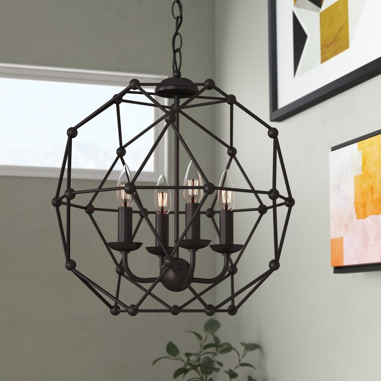Current Cavanagh 4 Light Geometric Chandelier (Gallery 24 of 25)