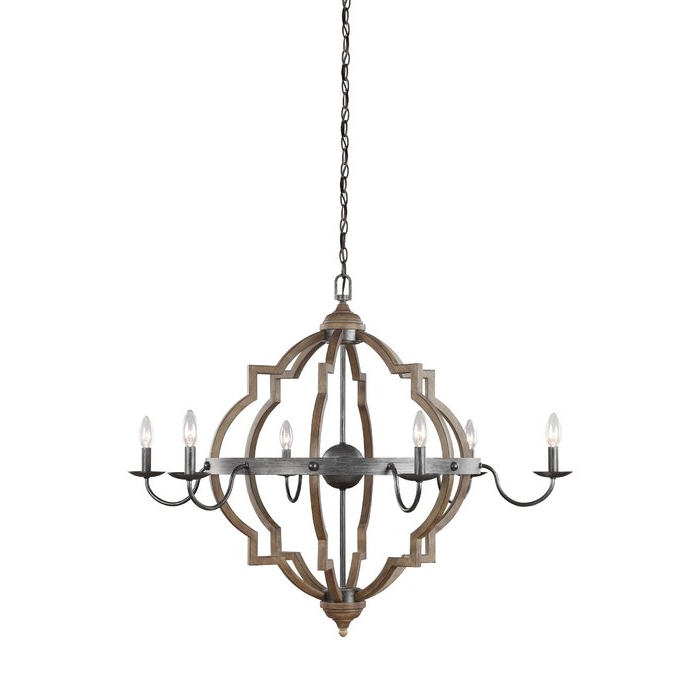 Current Donna 6 Light Candle Style Chandelier Intended For Lynn 6 Light Geometric Chandeliers (View 14 of 25)