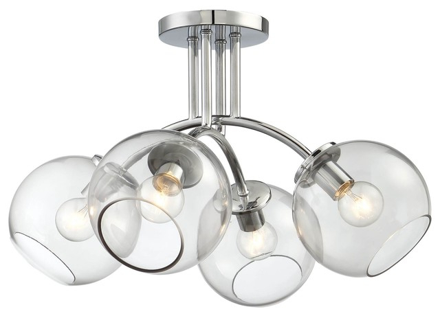 Current George Kovacs Exposed 4 Light Semi Flush Mount Throughout Tabit 5 Light Geometric Chandeliers (View 17 of 25)