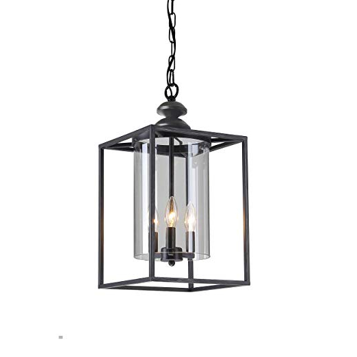 Current Jojospring La Pedriza Antique Black 3 Light Glass And Metal Chandelier Regarding La Barge 3 Light Globe Chandeliers (Gallery 12 of 25)
