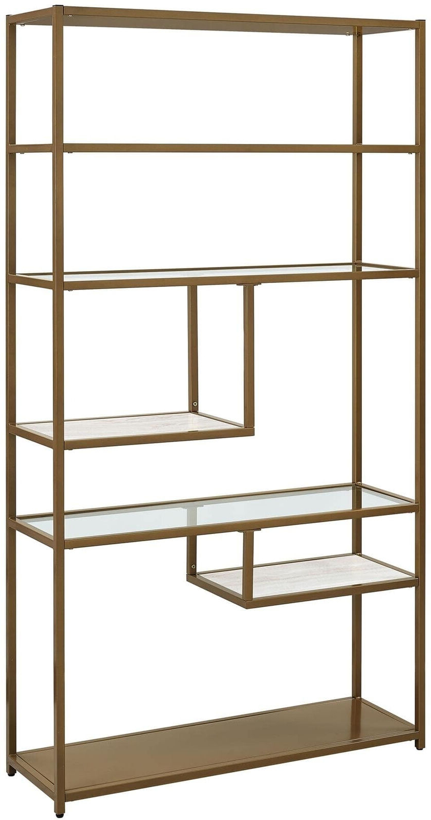 Current Mckibben Geometric Bookcases With Bookcase Bookshelves Geometric Etagere Glass Metal Brass Marble Gold Color (View 18 of 20)