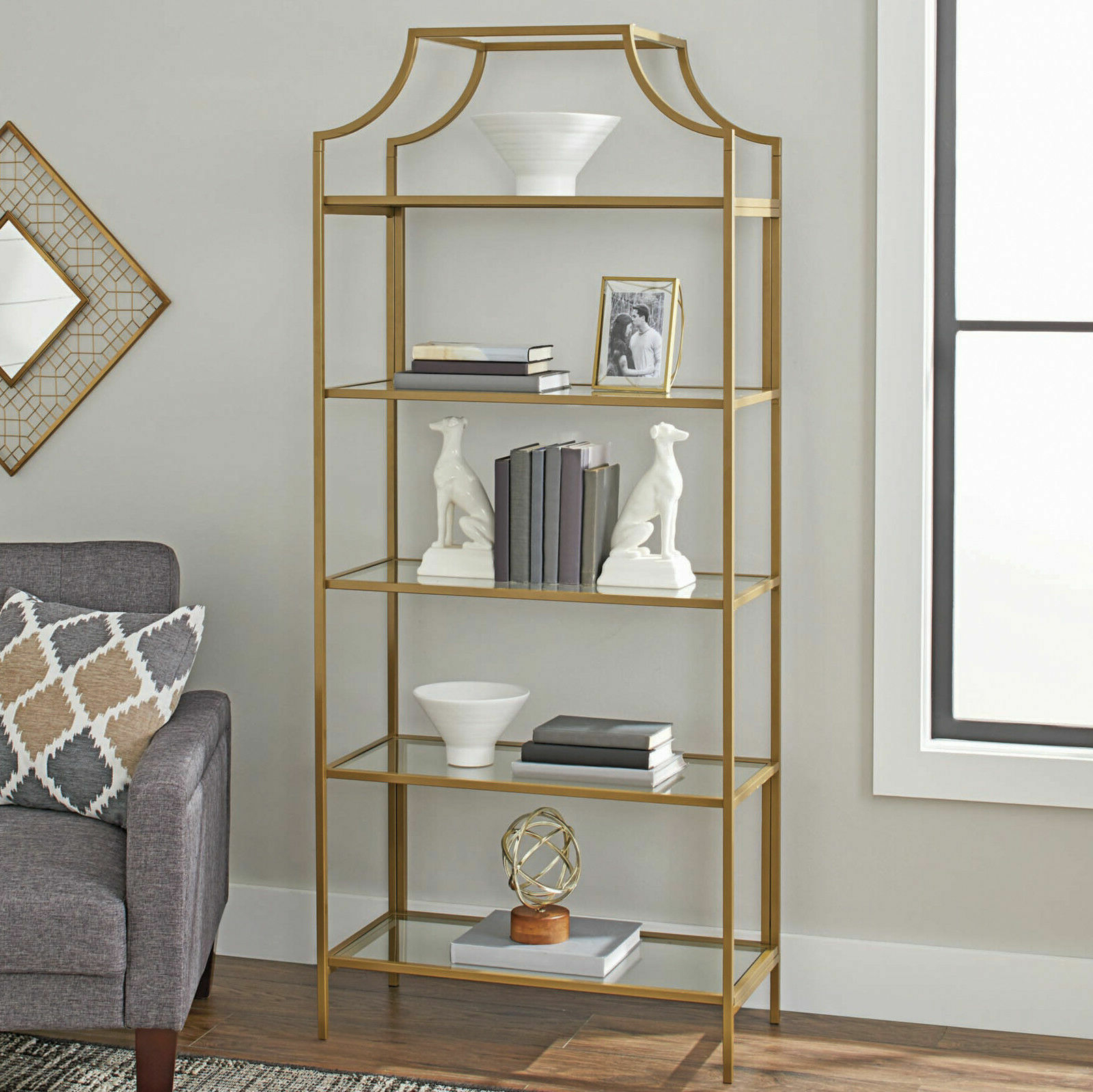 """Current New Better Homes & Gardens 71"""" Nola 5 Tier Etagere Bookcase Gold Finish 5  Shelf With Regard To Beckwith Etagere Bookcases (View 8 of 20)"""
