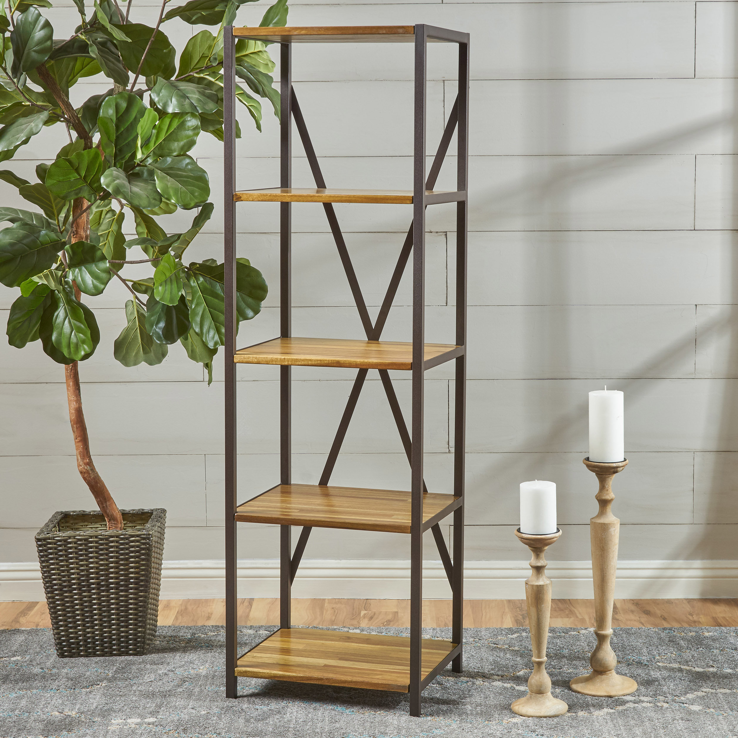 Current Saskia Etagere Bookcases With Regard To Farmhouse & Rustic Etagere Bookcases & Bookshelves (View 17 of 20)