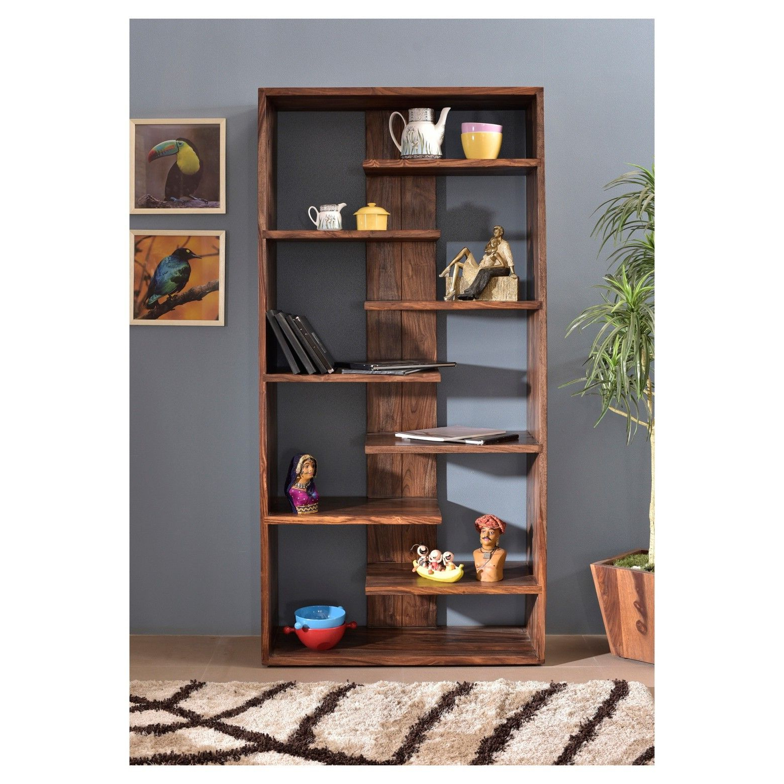 "Current Swarey Geometric Bookcases Within 70"" Brownstone Floating Shelf Bookcase Nut Brown – Treasure (View 8 of 20)"