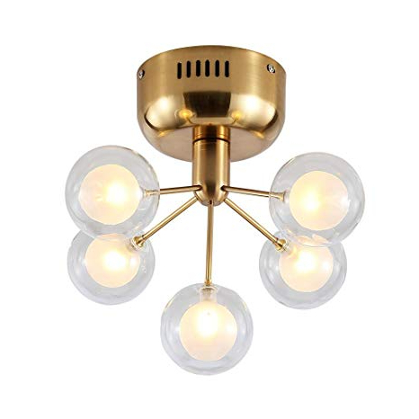 Dellemade Xd00124 5 Light Sputnik Chandelier Glass Ceiling Light G4 Bulbs Included,golden With Regard To Trendy Bautista 5 Light Sputnik Chandeliers (View 18 of 25)