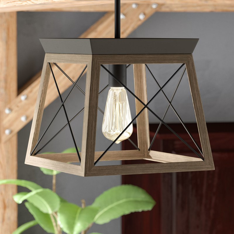 Delon 1 Light Lantern Geometric Pendant In Favorite Louanne 3 Light Lantern Geometric Pendants (View 6 of 25)