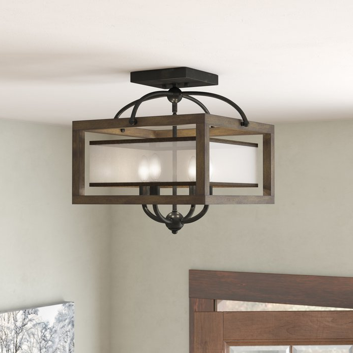 Delon 4 Light Square Chandeliers Throughout Most Current Aadhya 4 Light Square/rectangle Chandelier (Gallery 13 of 25)