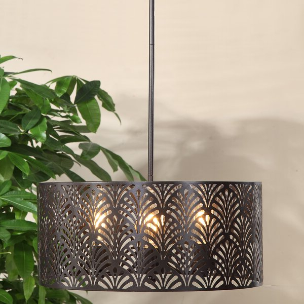Destrey 3 Light Lantern Square/rectangle Pendants Pertaining To Trendy Walston 3 Light Drum Chandelier (View 12 of 25)