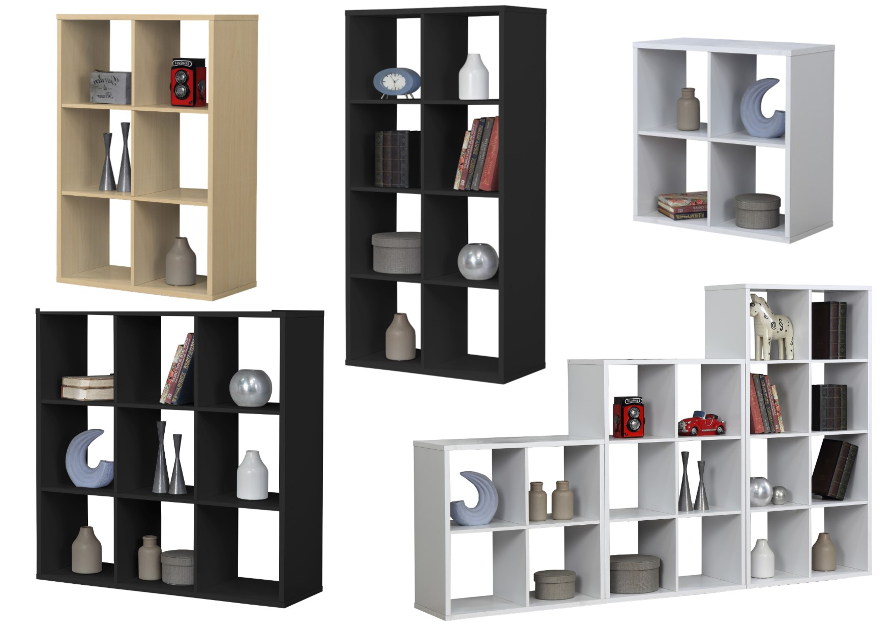 Details About Birlea Cube Shelving Units – 4, 6, 8, 9 Section Cube Units –  Black, White, Beech With Most Recently Released Lancashire Cube Bookcases (Gallery 15 of 20)