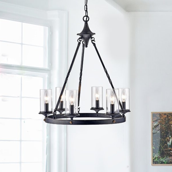 Deveraux 6 Light Wagon Wheel Chandelier With Regard To Most Recent Janette 5 Light Wagon Wheel Chandeliers (View 11 of 25)