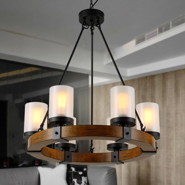 Donna 6 Light Globe Chandeliers For Well Liked Shop Warehouse Of Tiffany Casity Black/brown Wood/metal (View 6 of 25)