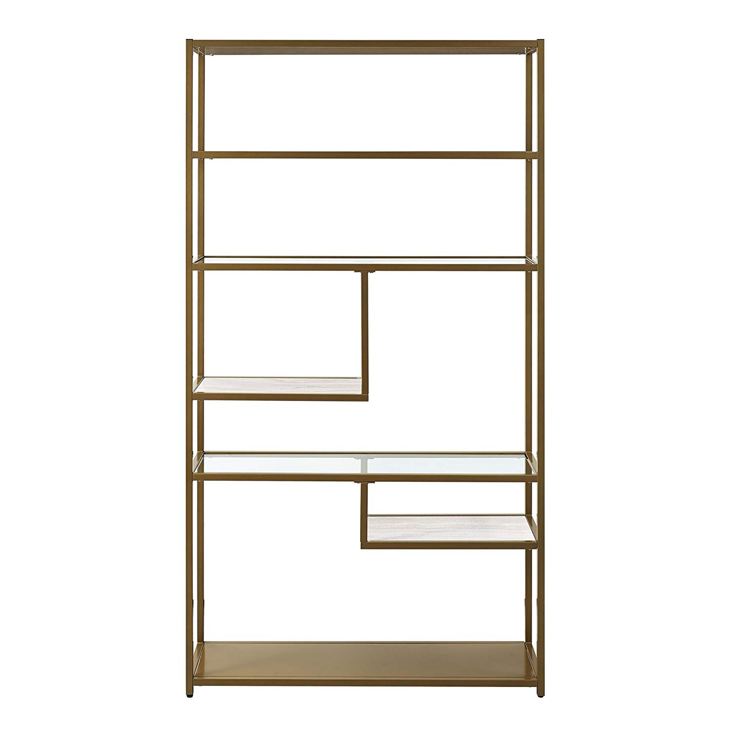Dorel Living Moriah Geometric Bookcase Etagere, Soft Brass Pertaining To Latest Chrysanthos Etagere Bookcases (View 16 of 20)