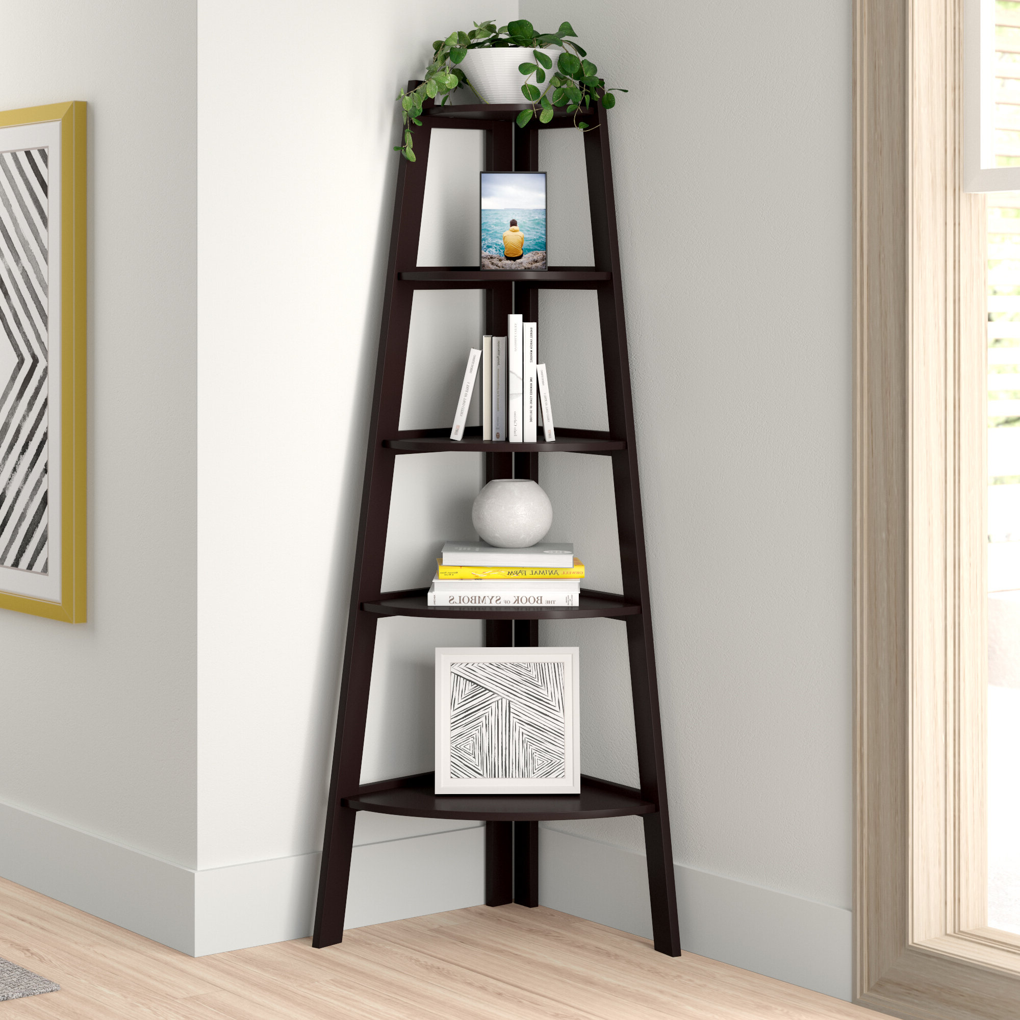 Duerr Corner Unit Bookcases With Regard To Widely Used Tisha Corner Bookcase (View 7 of 20)