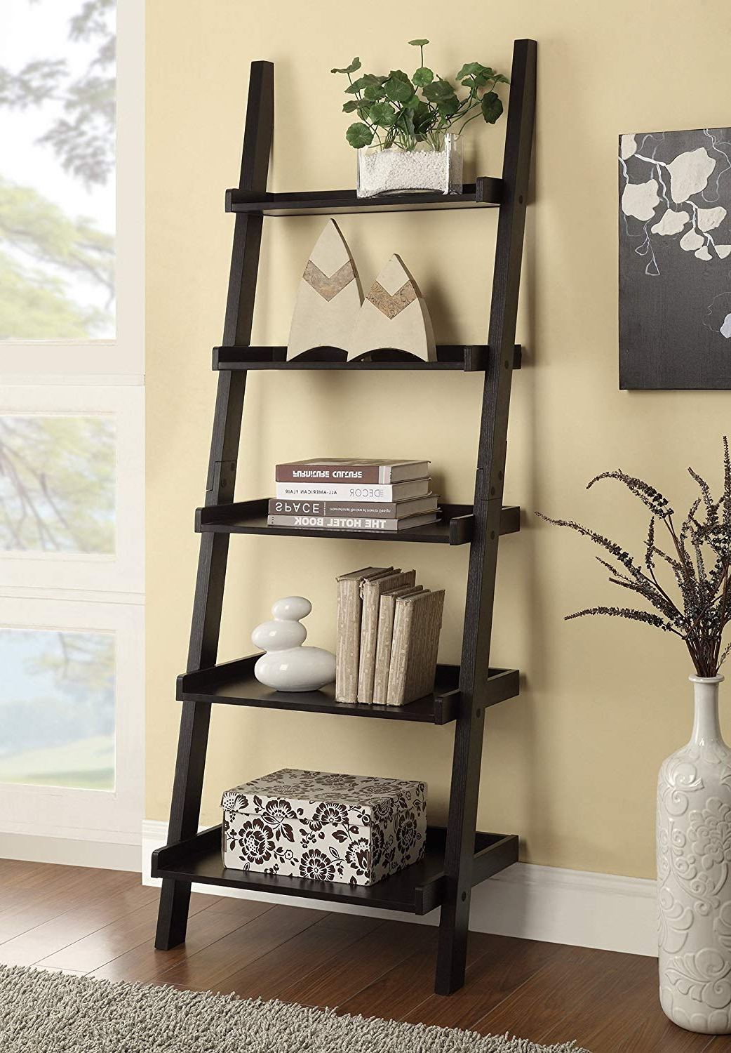 Dunhill Ladder Bookcases Within Newest Coaster Home Furnishings 800338 Colella 5 Shelf Ladder Bookcase, Cappuccino (View 9 of 20)