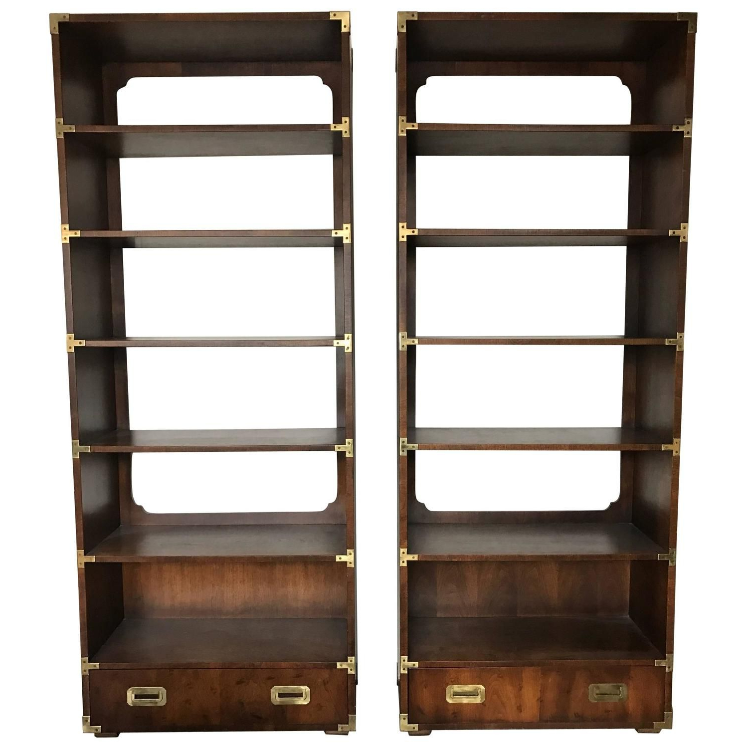 Earline Etagere Bookcases Intended For Preferred 1970s Vintage Campaign Bookshelf Unitshenredon (View 18 of 20)