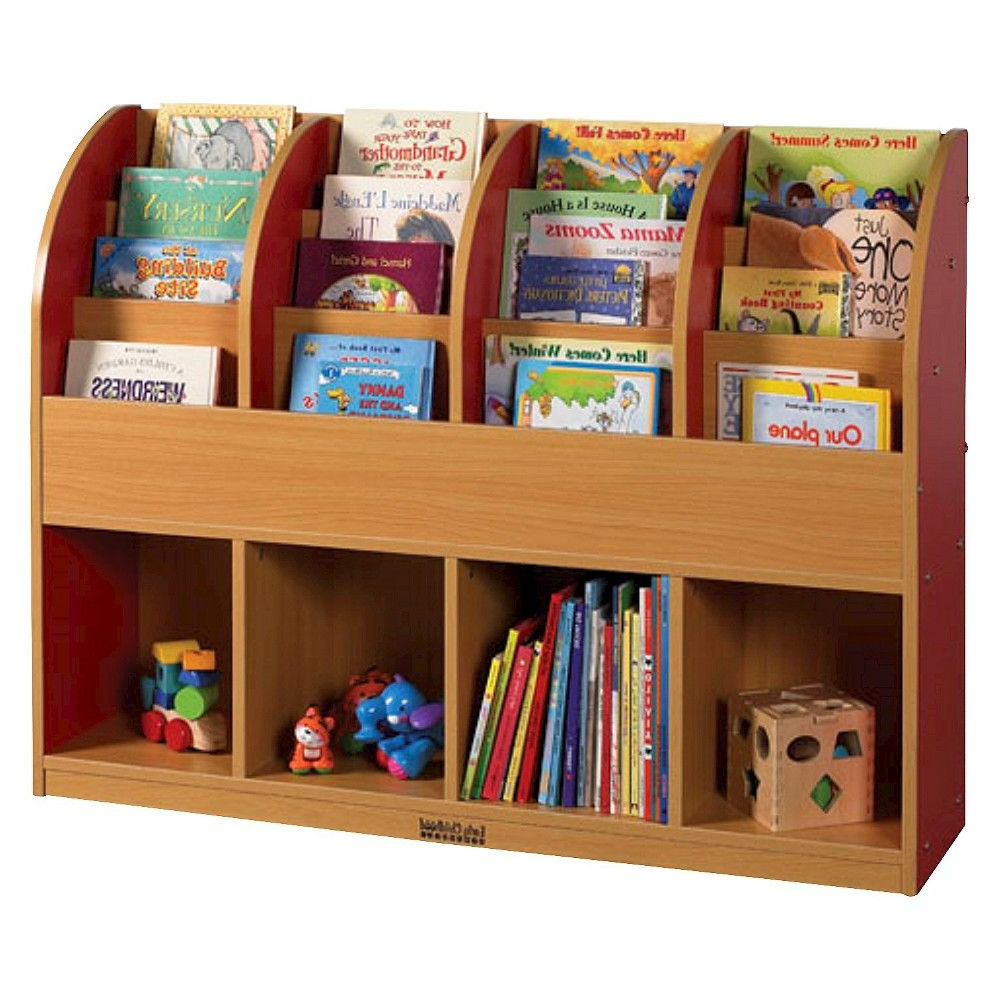 Ecr4Kids Single Sided Standard Book Stand – Red, Red/wood Pertaining To 2019 Classroom Cubby Standard Bookcases (Gallery 12 of 20)