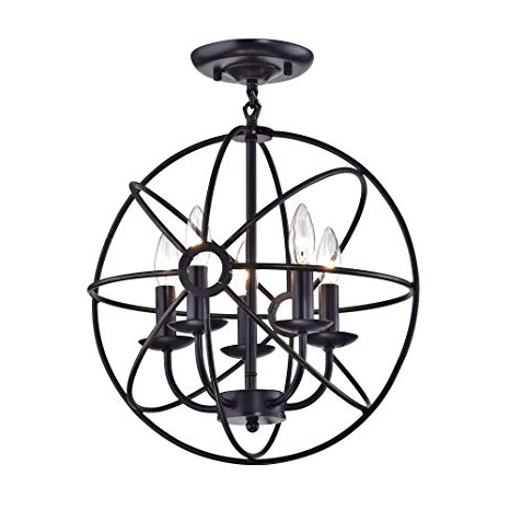 Edvivi Dover 5 Light Oil Rubbed Bronze Sphere Orb Cage Globe Flush Mount  Chandelier (View 5 of 25)