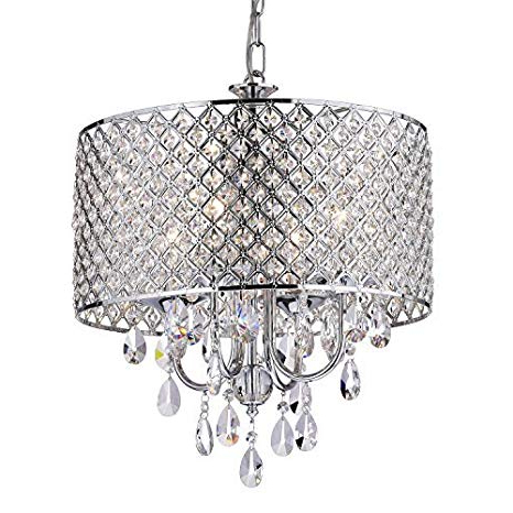 Edvivi Marya 4 Light Chrome Round Crystal Chandelier Ceiling Fixture (View 14 of 25)