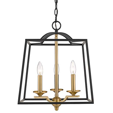Emliviar 3 Light Foyer Chandelier, Pendant Light With Lantern Style Cage  Hanging Light Fixture For Hall Kitchen Island, Black And Gold Finish,  2086P 3 With Regard To Trendy Kenedy 9 Light Candle Style Chandeliers (View 5 of 25)