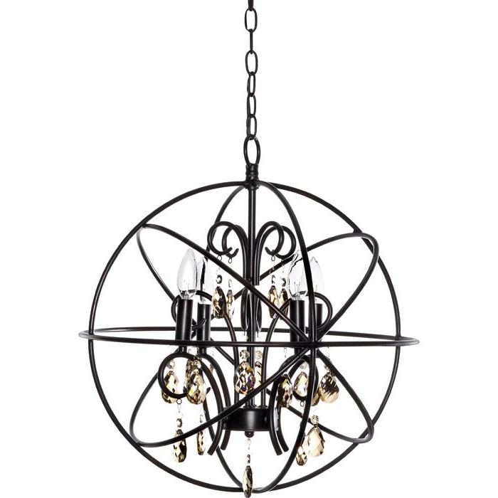 Famous Alden 3 Light Single Globe Pendants In Alden 4 Light Globe Chandelier (View 6 of 25)