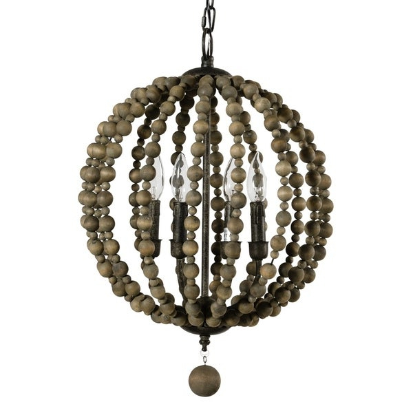 Famous Alden Décor Sequoia Pendant In Wood Beads Throughout Alden 3 Light Single Globe Pendants (View 21 of 25)