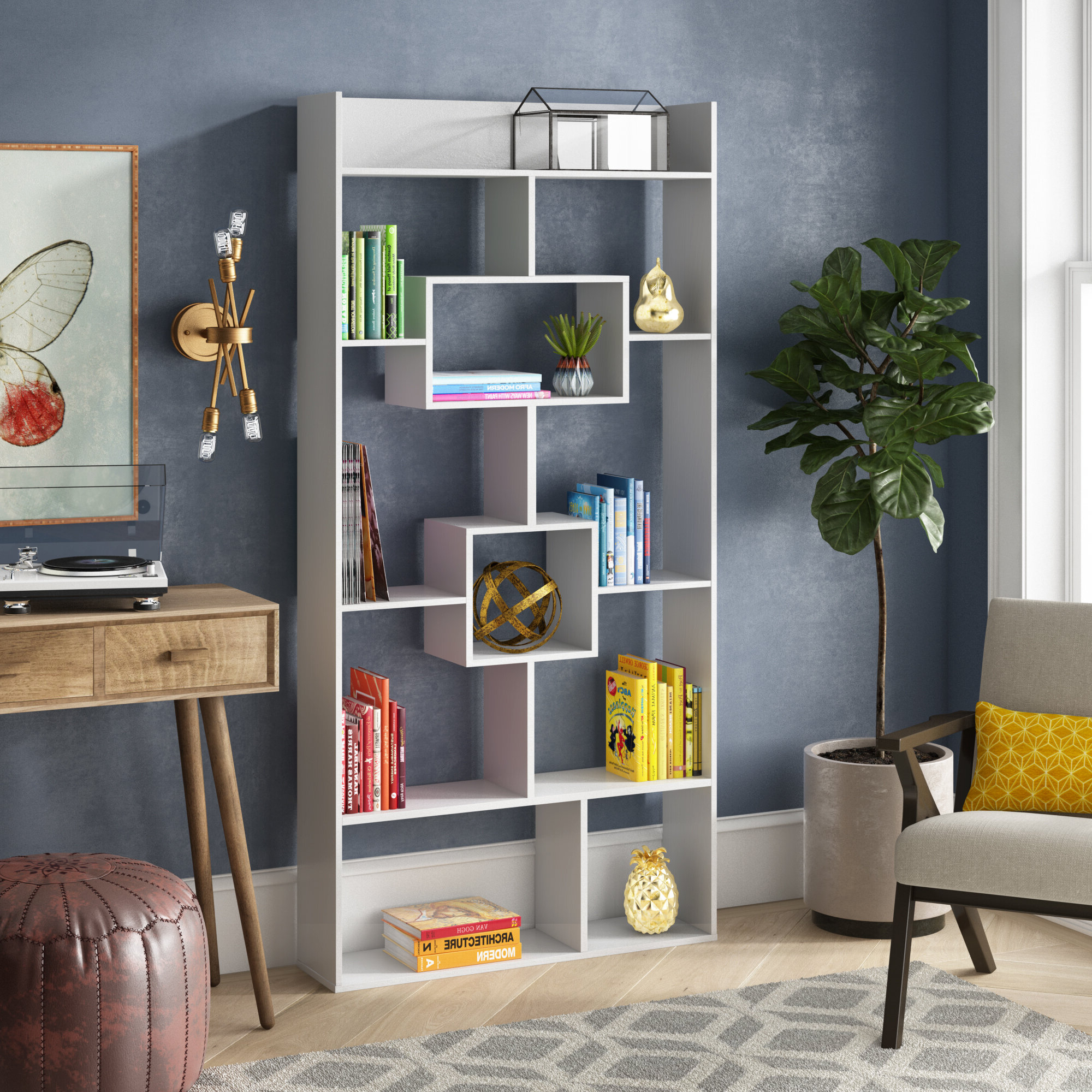 Famous Ansley Geometric Bookcases Intended For Details About Ivy Bronx Canal Street Geometric Bookcase (View 7 of 20)