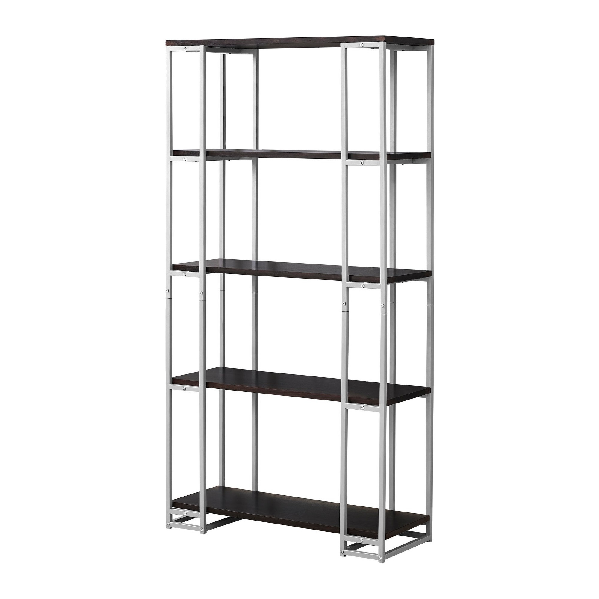 Famous Bookcase Cappuccino& Silver Metal 70 – Everyroom, Cappuccino Within Hitz Etagere Bookcases (View 4 of 20)