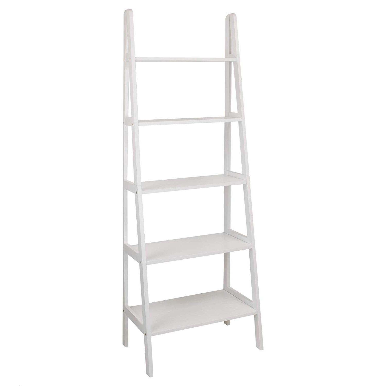 Famous Casual Home 176 51 5 Shelf Ladder Bookcase, White Intended For Rupert Ladder Bookcases (View 6 of 20)
