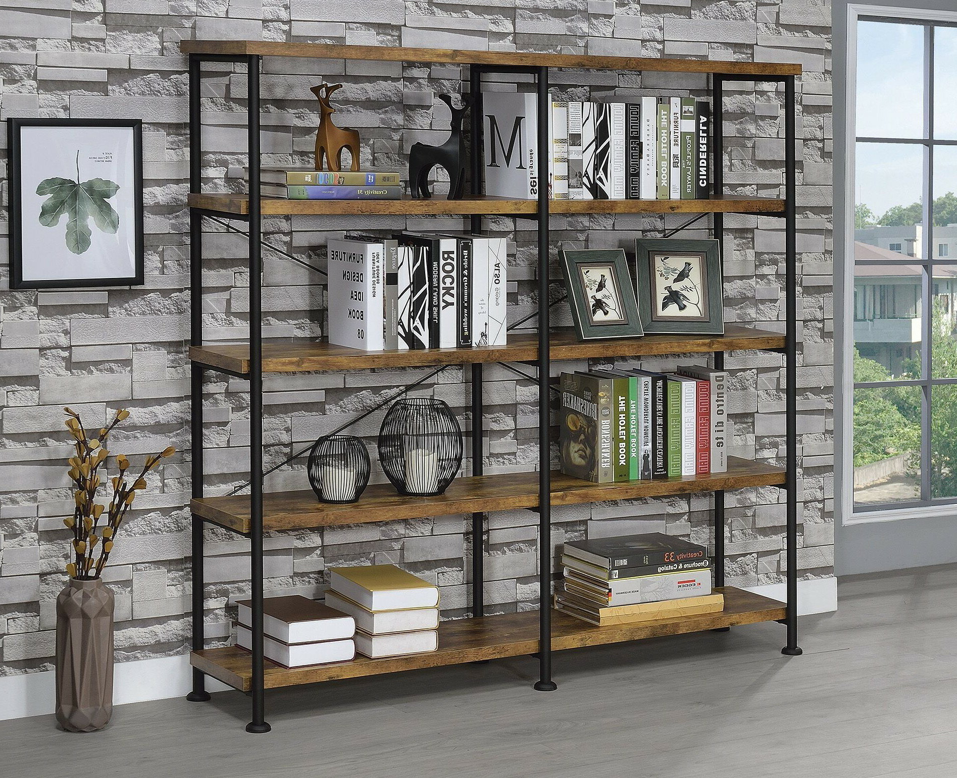 Famous Cifuentes Dual Etagere Bookcase Inside Cecelia Etagere Bookcases (View 11 of 20)