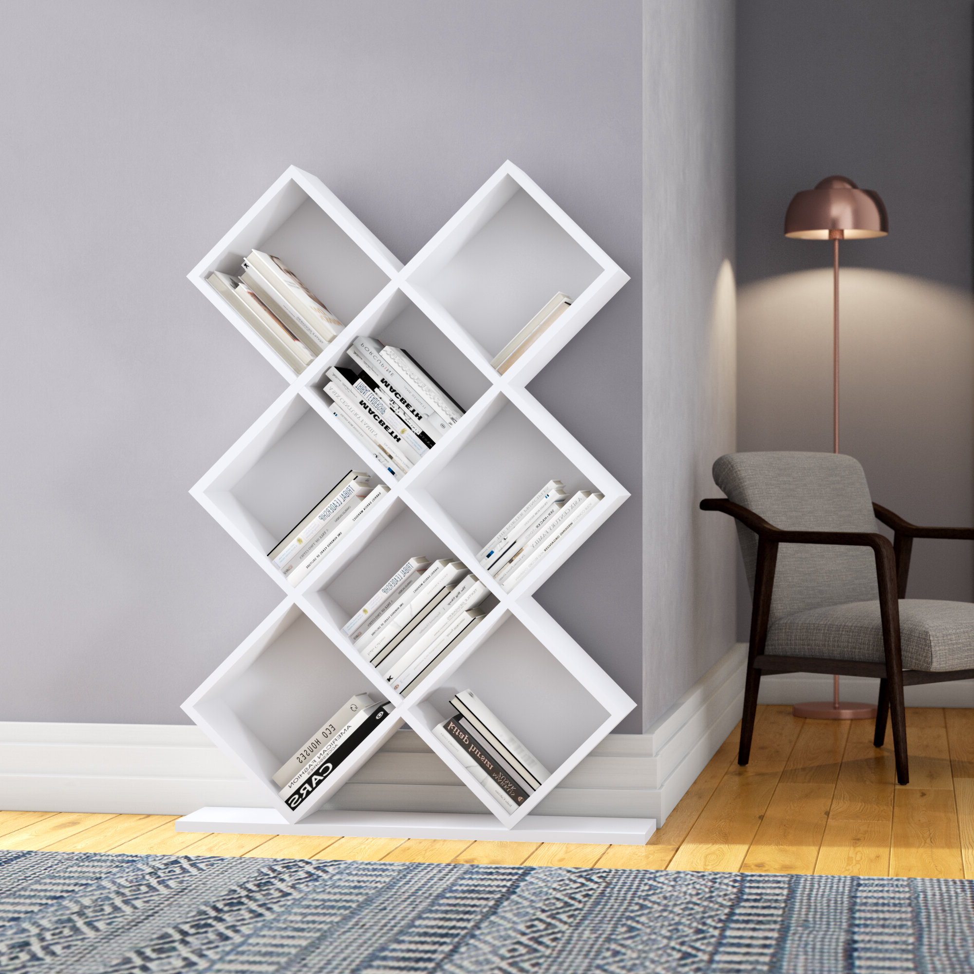 Famous Details About Ivy Bronx Campas Geometric Bookcase In Mckibben Geometric Bookcases (View 10 of 20)