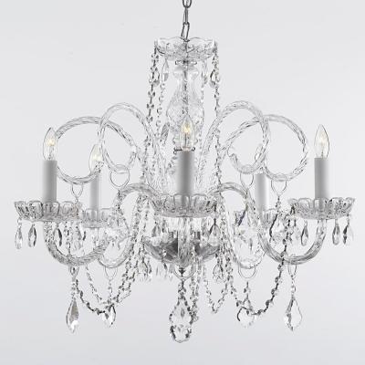 Famous Empress Crystal 5 Light Chandelier T40 115 – The Home Depot In Verdell 5 Light Crystal Chandeliers (View 7 of 25)