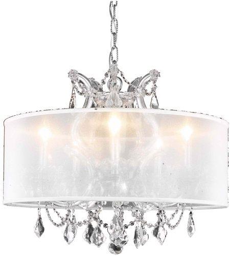 Famous Maria Theresa 6 Light 20 Inch Chrome Dining Chandelier Ceiling Light In Clear, Swarovski Strass, Silver Shade Regarding Thresa 5 Light Shaded Chandeliers (View 23 of 25)