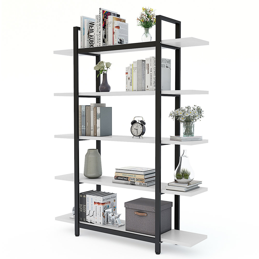 Famous Melia Vintage Industrial Style 5 Tier Etagere Bookcase Throughout Babbitt Etagere Bookcases (View 11 of 20)