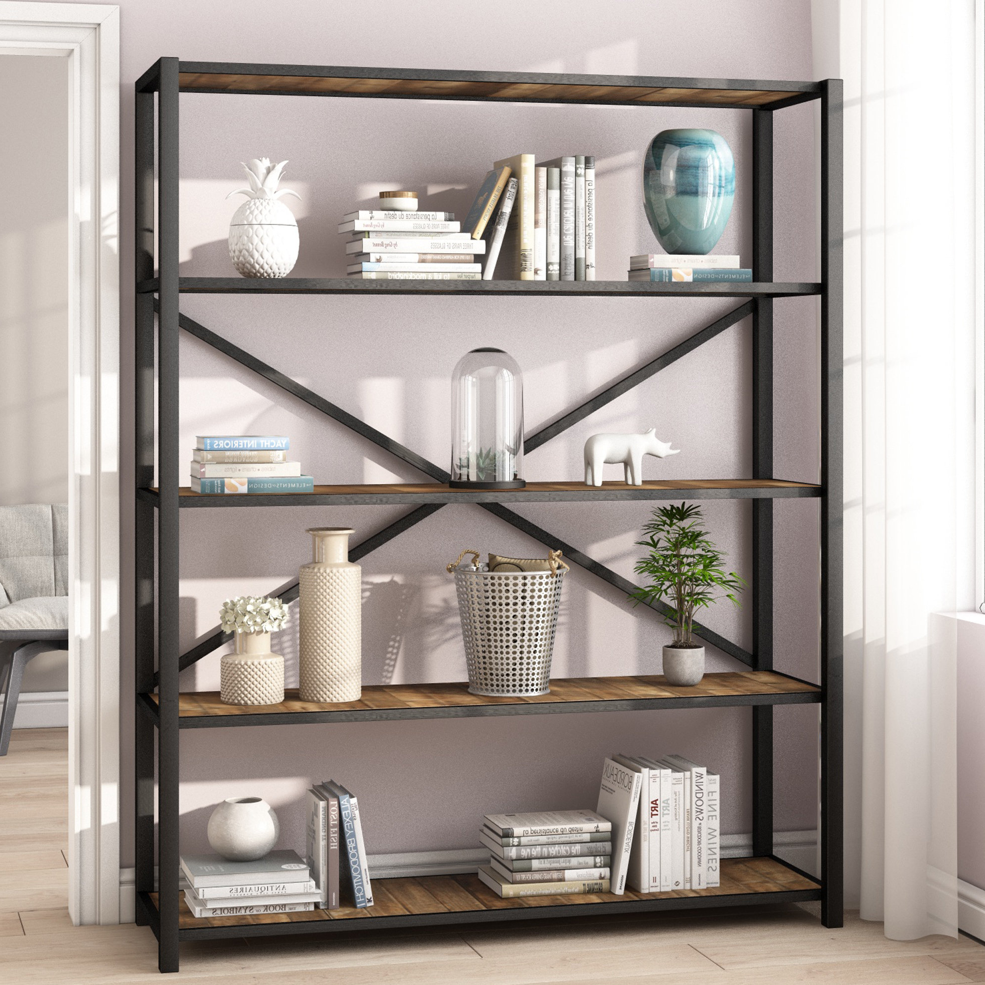 Famous Niels Etagere Bookcase With Beckwith Etagere Bookcases (View 10 of 20)