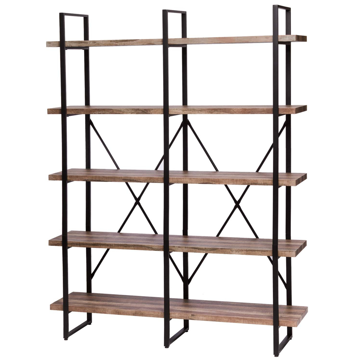 Famous Rech 4 Tier Etagere Bookcases Throughout Ironck Bookshelf, Double Wide 5 Tier Open Bookcase Vintage Industrial Large  Shelves, Wood And Metal Etagere Bookshelves, For Home Decor Display, (View 4 of 20)