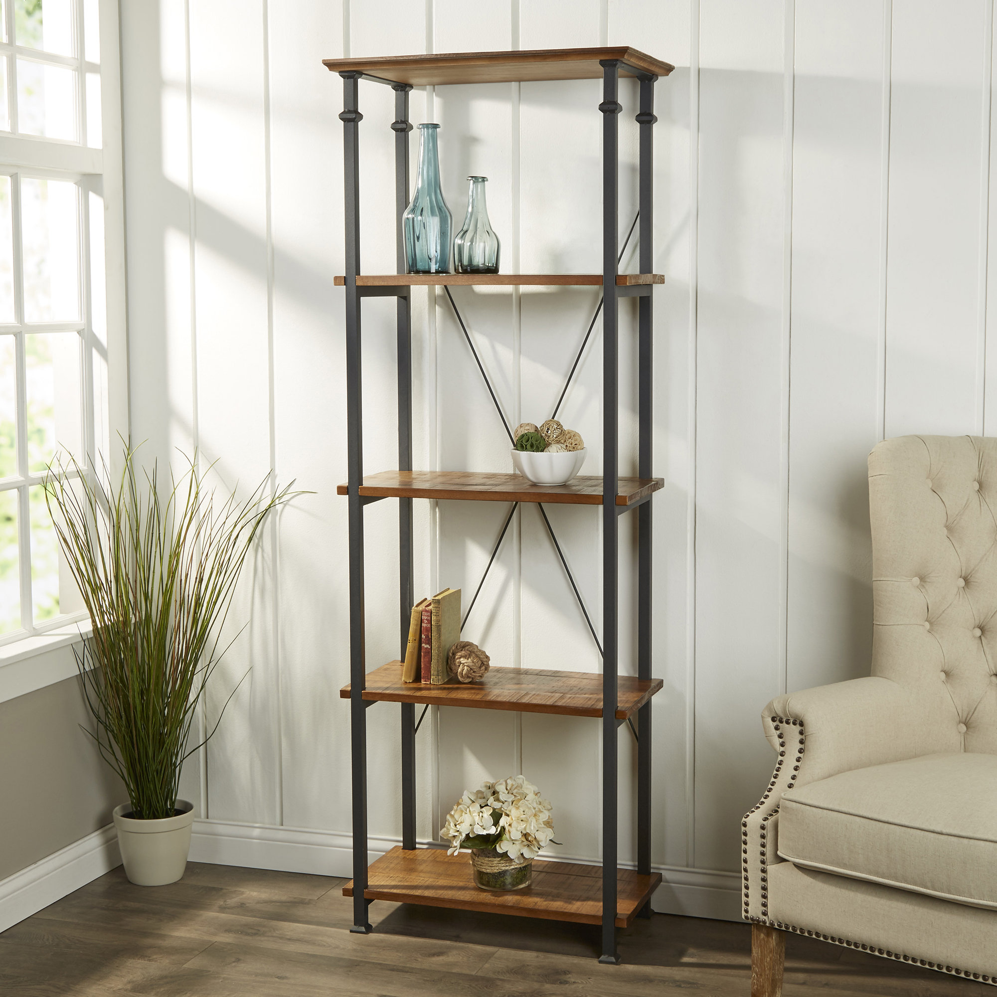 Farmhouse & Rustic Solid Wood Bookcases & Bookshelves Pertaining To Favorite Noelle Ashlynn Ladder Bookcases (View 7 of 20)
