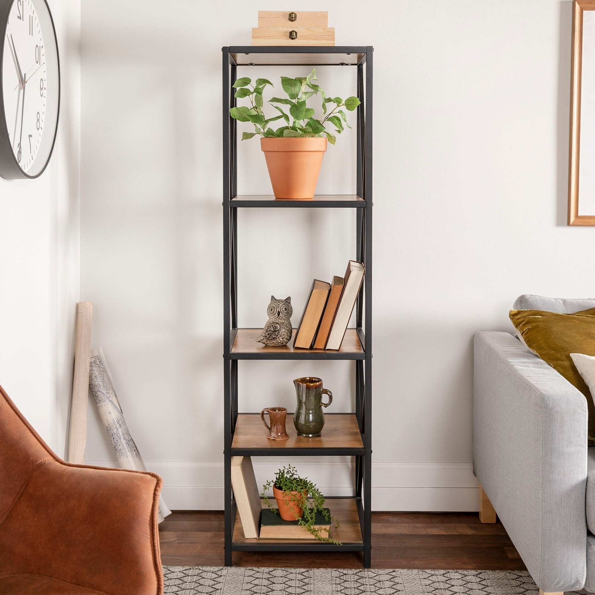 Fashionable Carbon Loft Hattie Metal And Wood X Frame Media Bookshelf – 18 X 16 X 61h Throughout Hattie Corner Bookcases (View 5 of 20)