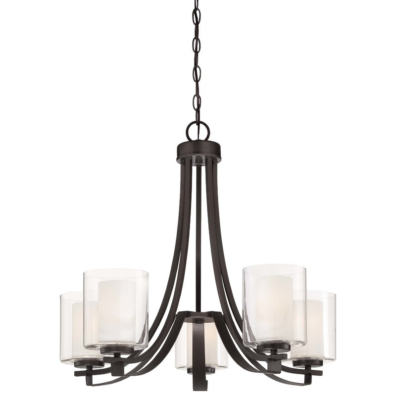 Fashionable Crofoot 5 Light Shaded Chandeliers With Regard To Demby 5 Light Shaded Chandelier (View 9 of 25)