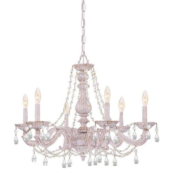 Fashionable Crystorama Sutton 6 Light Antique White/ Crystal Chandelier With Regard To Sherri 6 Light Chandeliers (View 15 of 25)